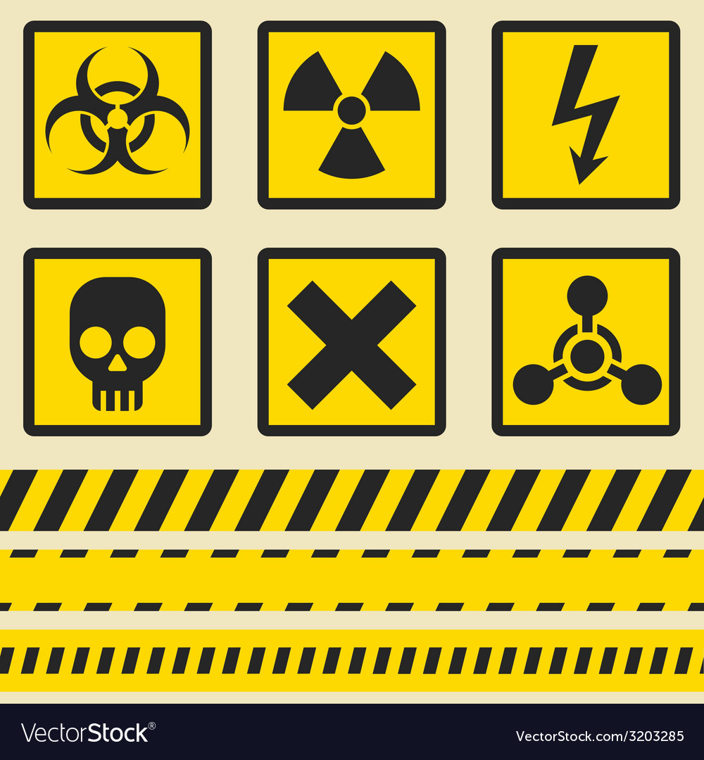 Warning signs symbols Seamless tape