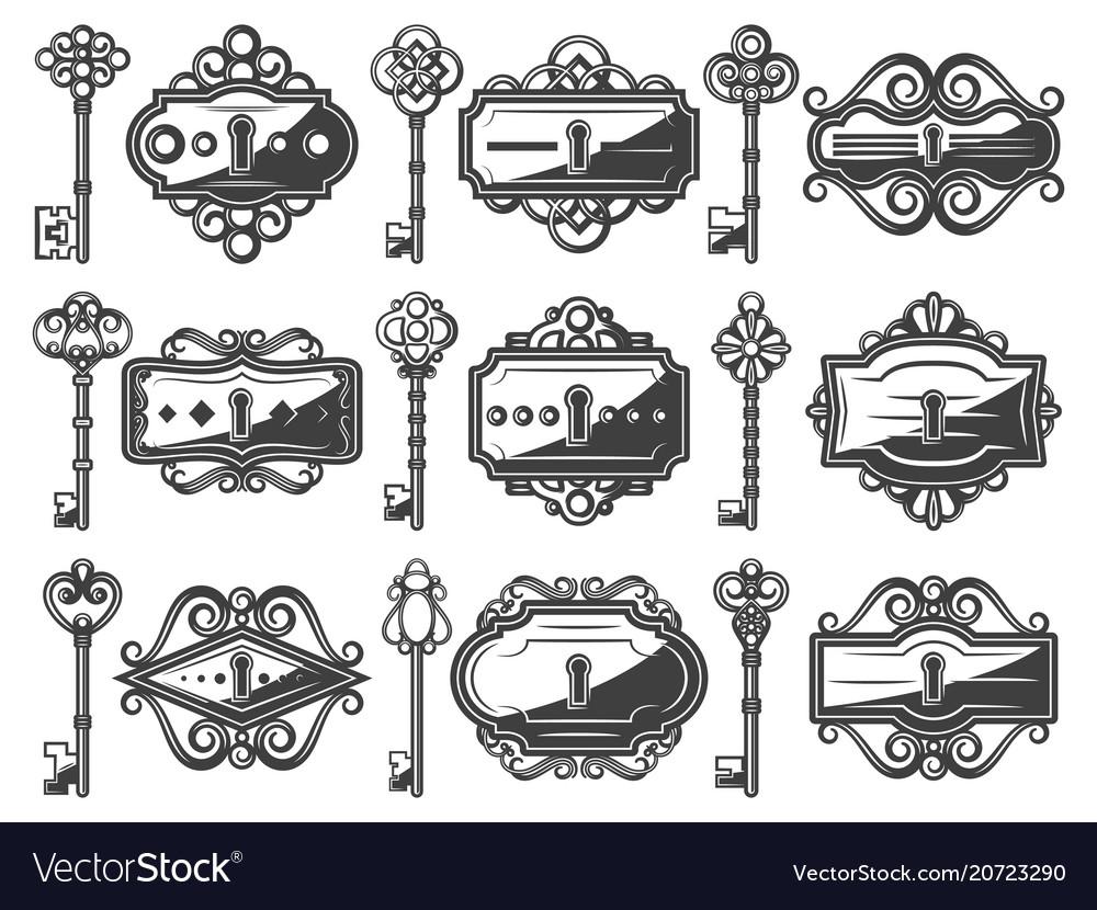 Antique metal keyholes set