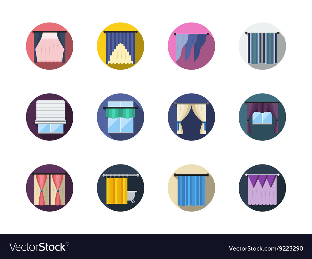 Blinds and curtains color round flat icons