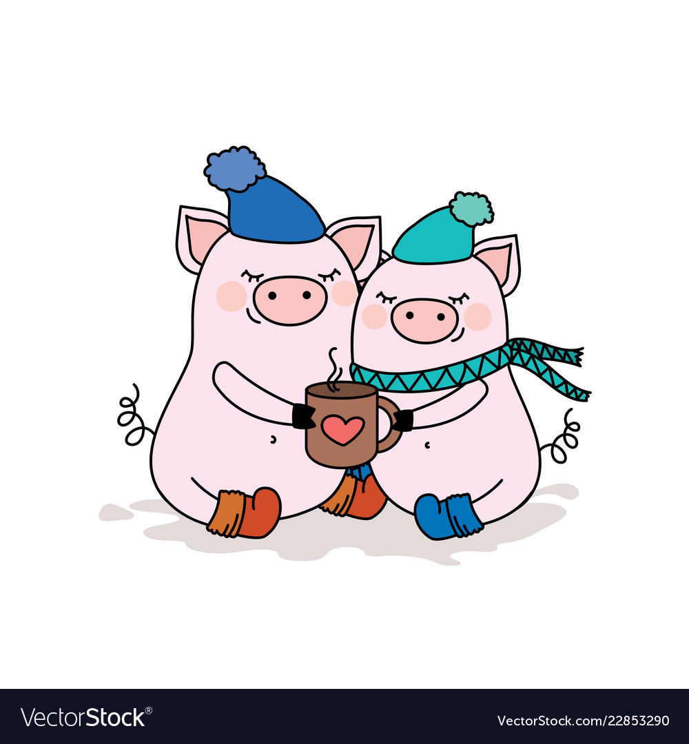 Couple of pigs in lovetwo cute animals in hats