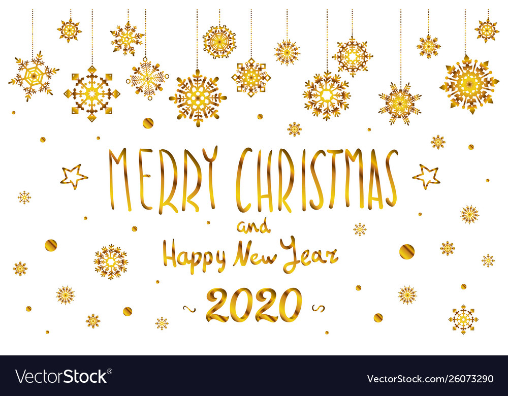 Merry Christmas And Happy 2020 Gold merry christmas and happy new year 2020 year Vector Image