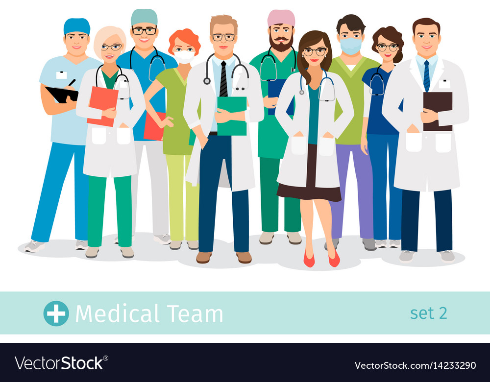 Hospital or medical staff cartoon characters vector image