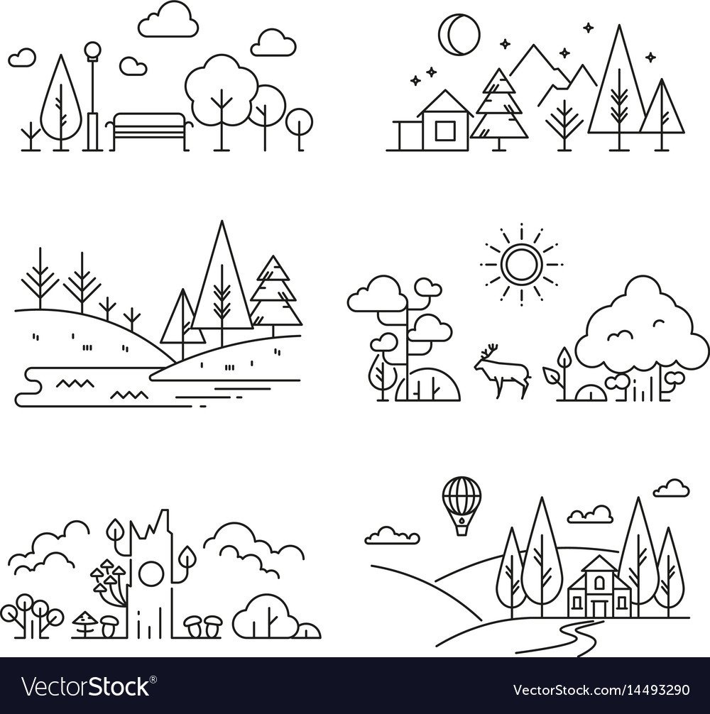Nature landscape outline icons with tree plants