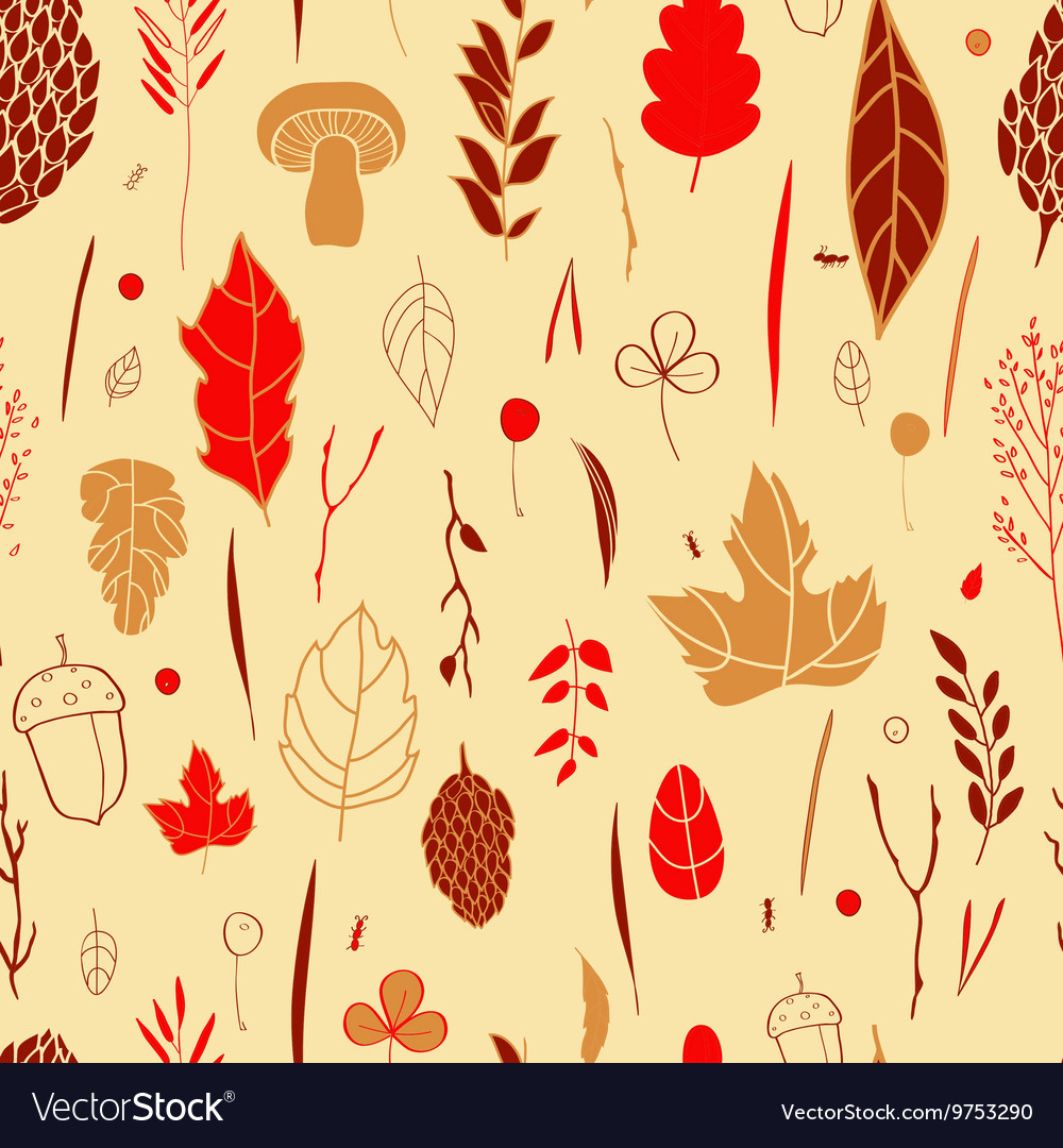 Seamless pattern with leaf berries blades