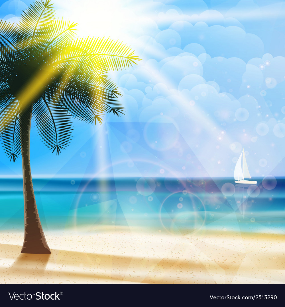 Seaside view poster and geometric shapes vector image