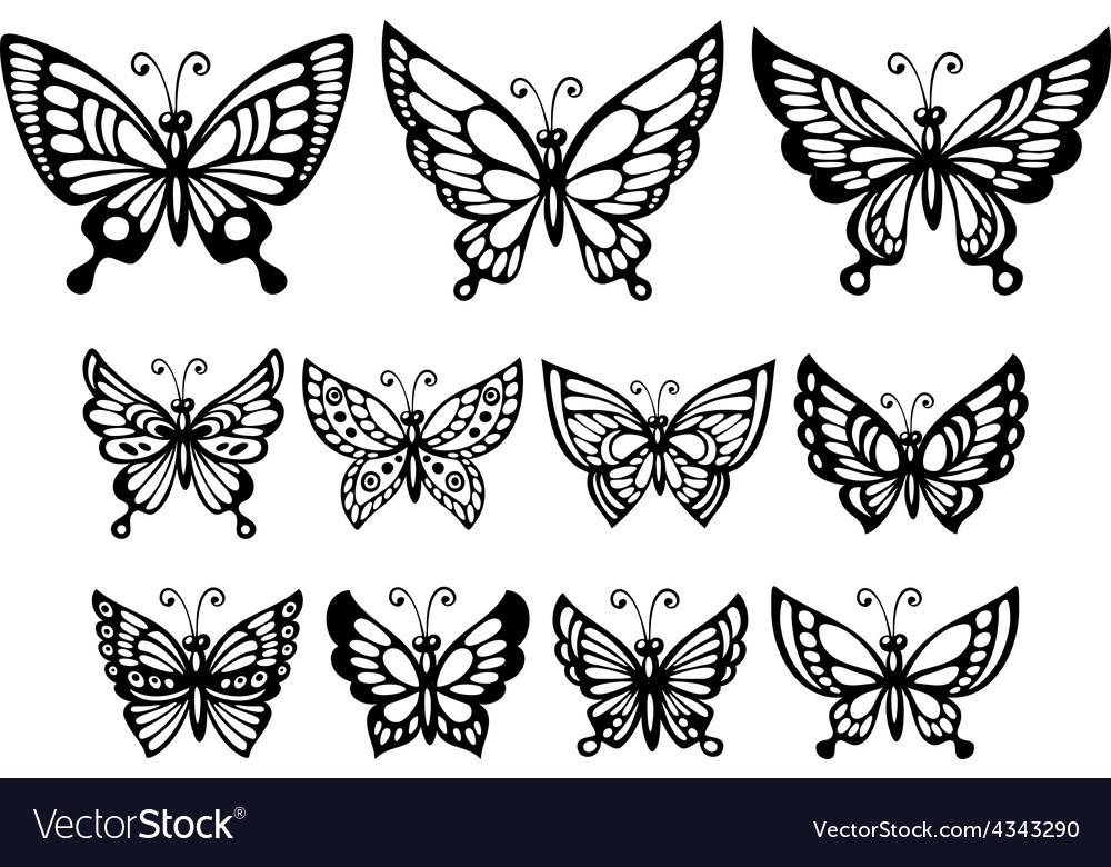 Set of silhouette wonderful butterflies vector image