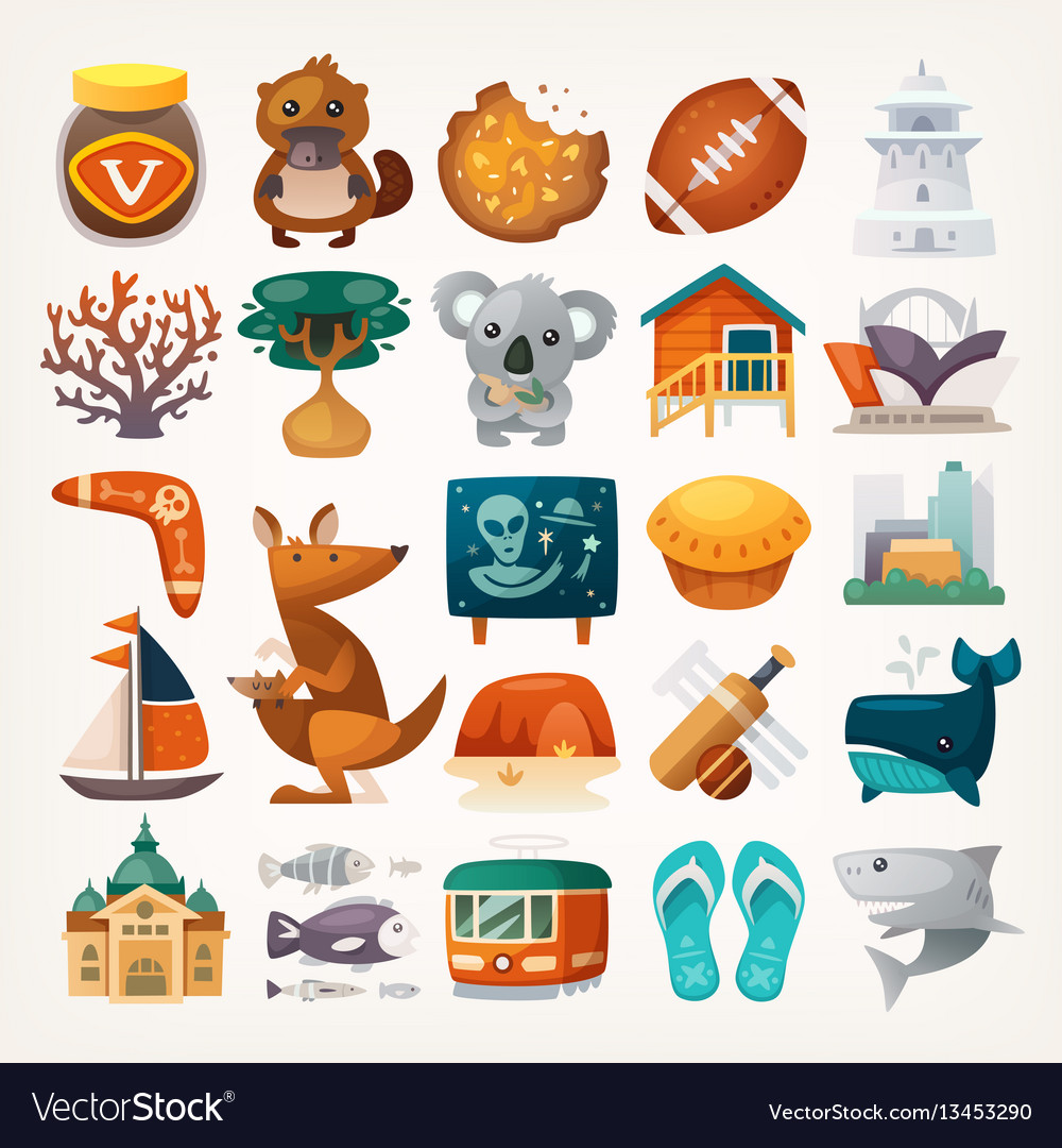 Stickers with sights and famous elements of