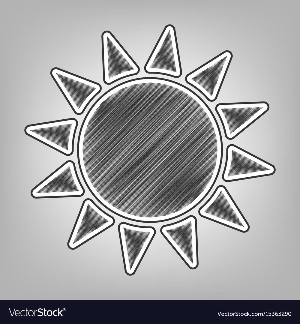 Sun sign pencil sketch vector image