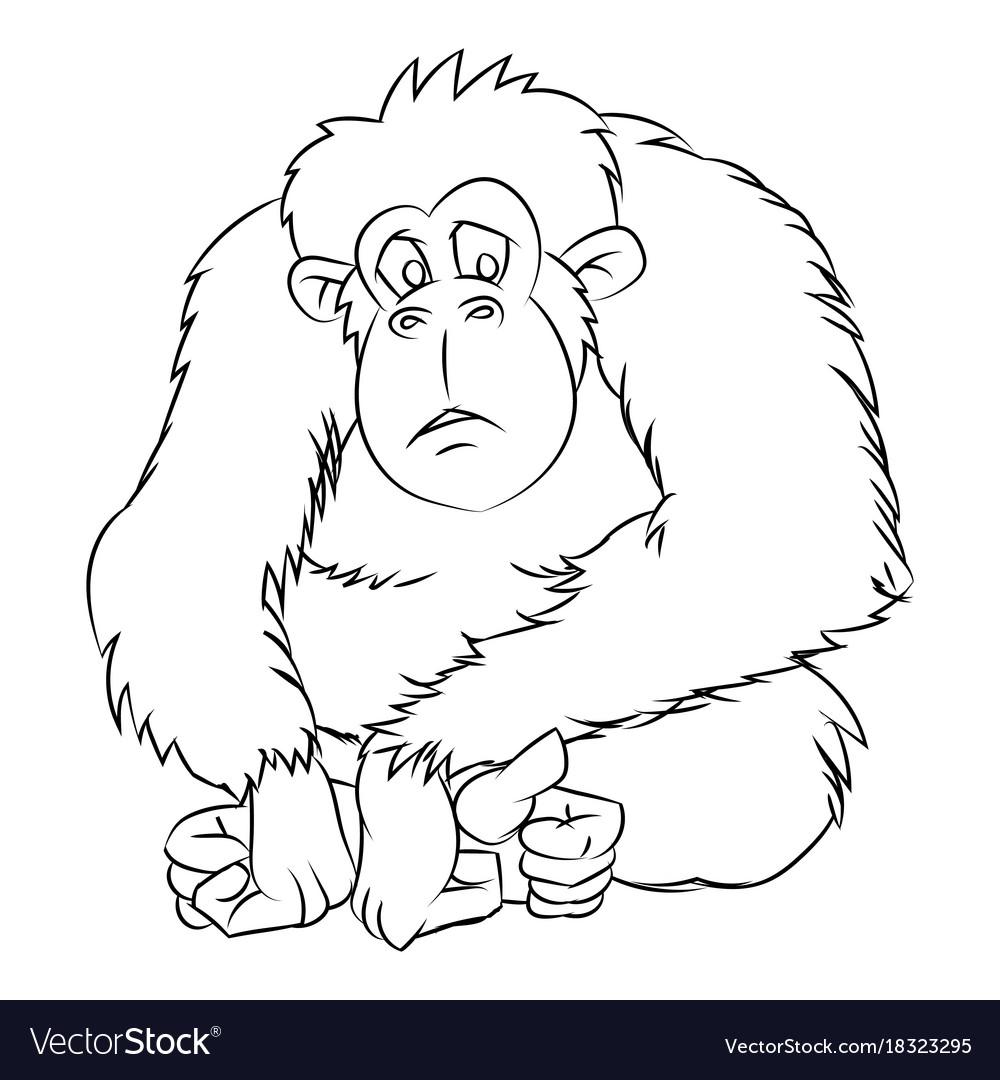 Ape cartoon - line drawn vector image