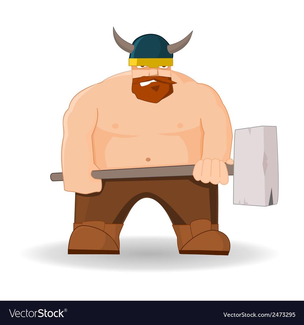 Cartoon viking with hammer vector image