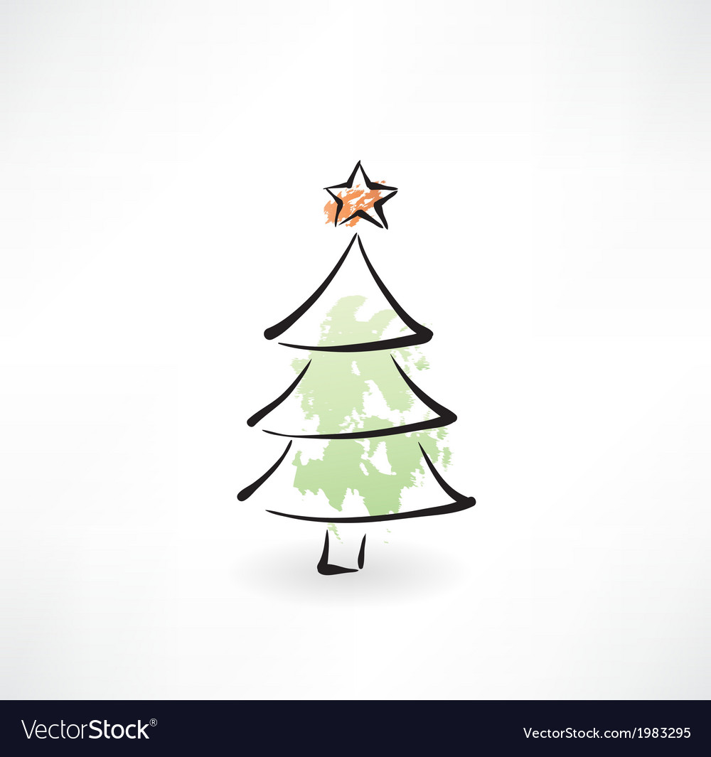Christmas tree grunge icon vector image