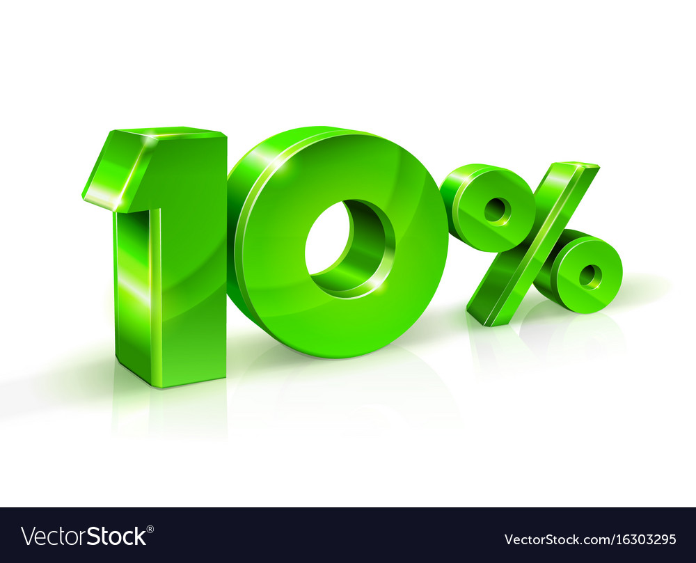 Glossy green 10 ten percent off sale isolated on