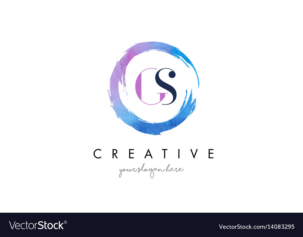 Gs letter logo circular purple splash brush vector image