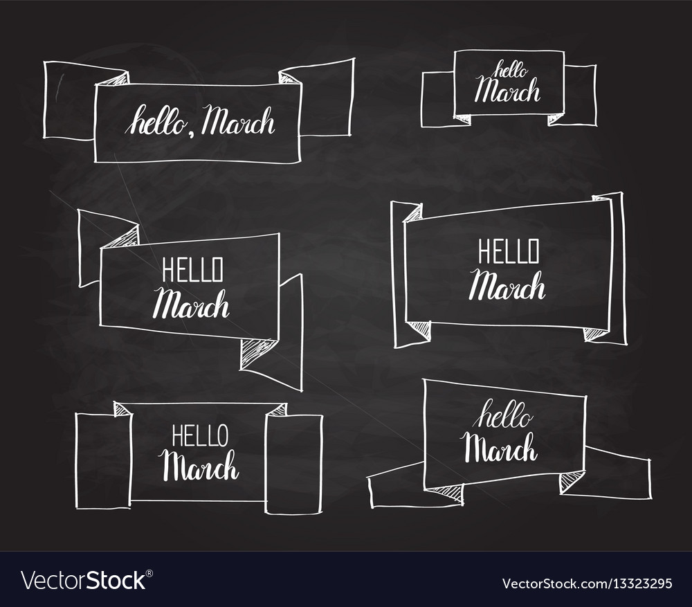 Hello march origami banners set vector image