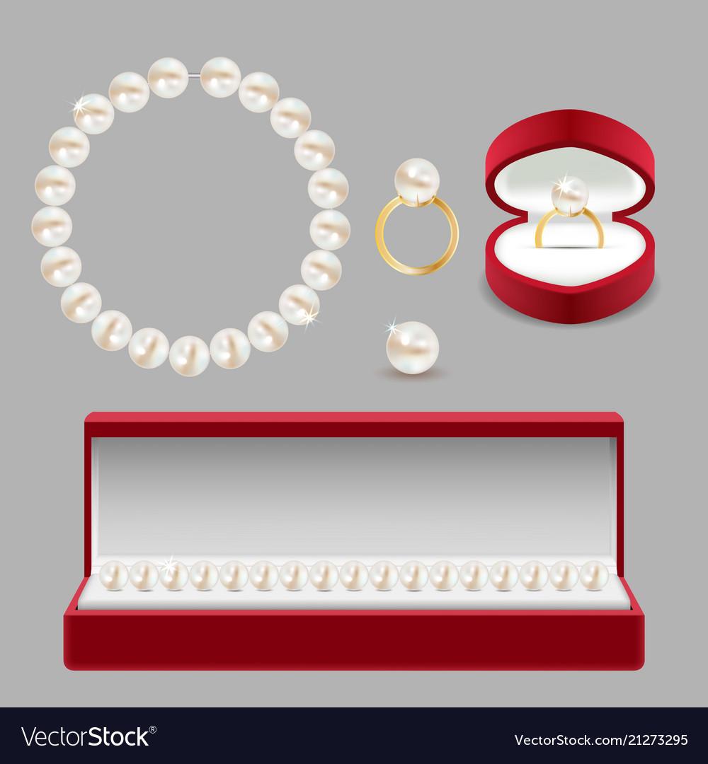 Pearl jewelery set realistic vector image