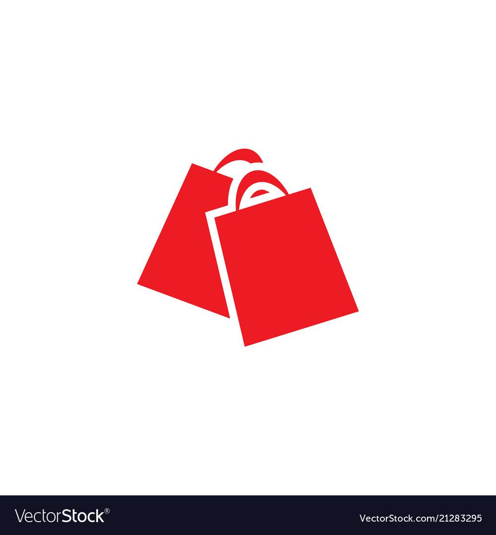 Red shopping bag retail logo design template