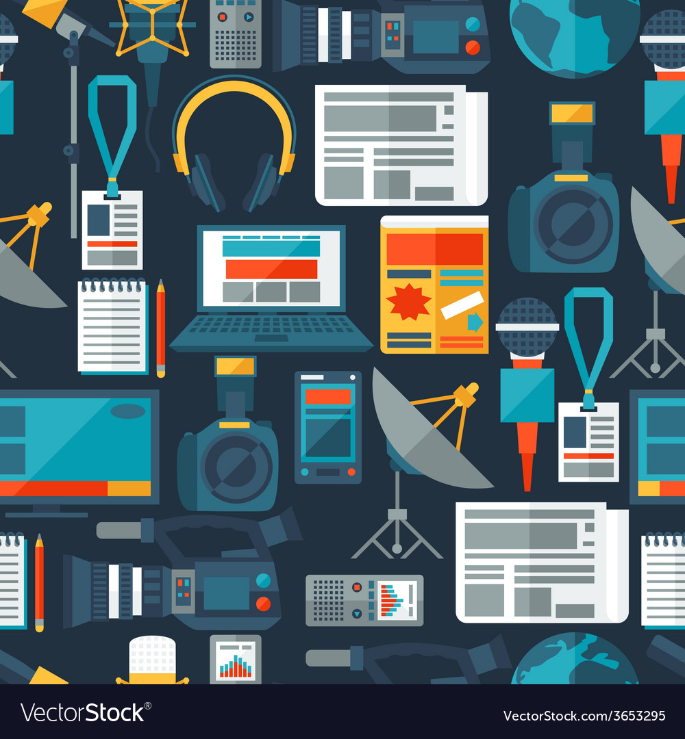 Seamless pattern with journalism icons