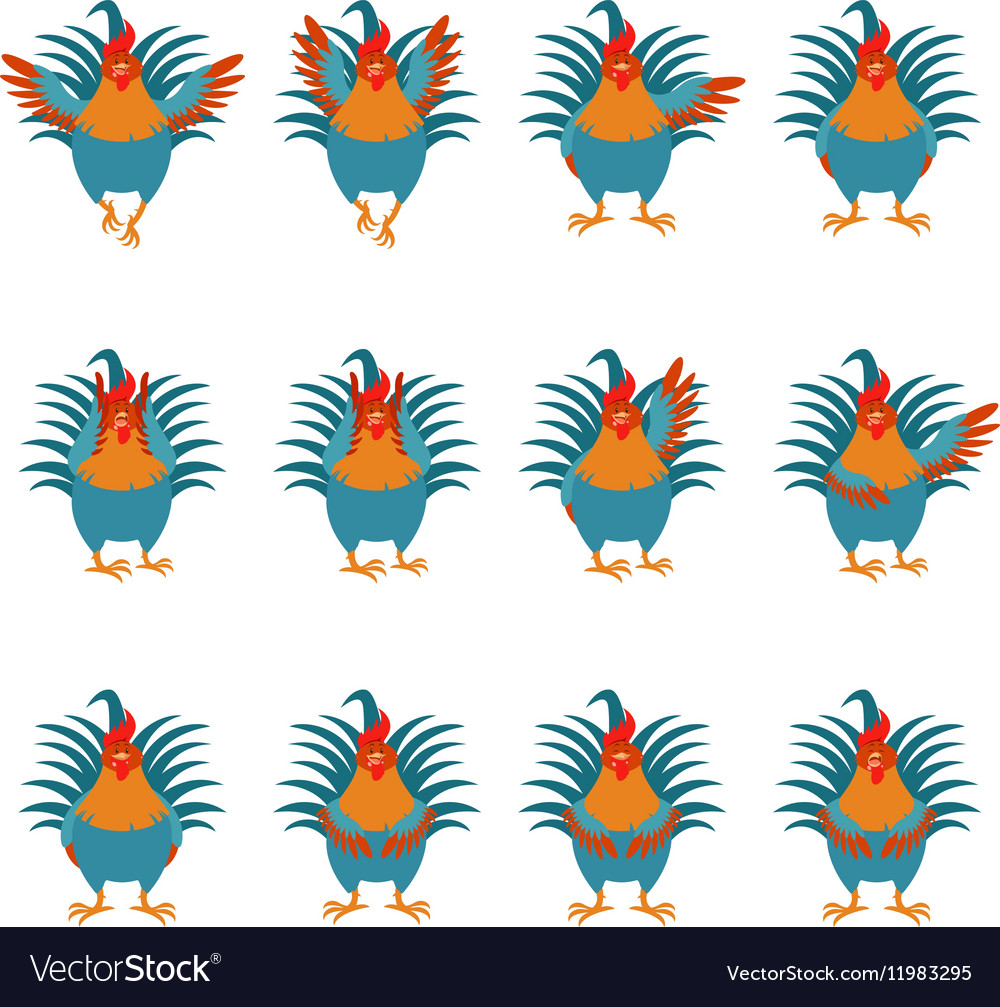 Set of Rooster flat icons2 vector image