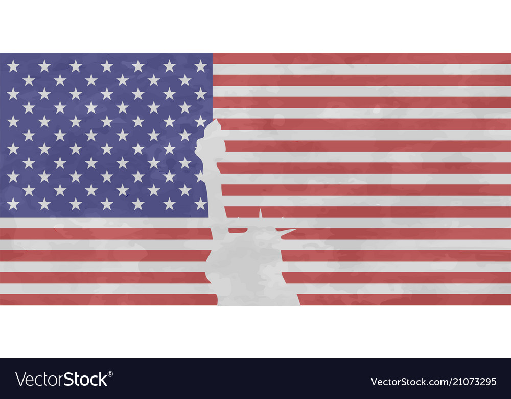 Usa flag with isolated statue of liberty with fray