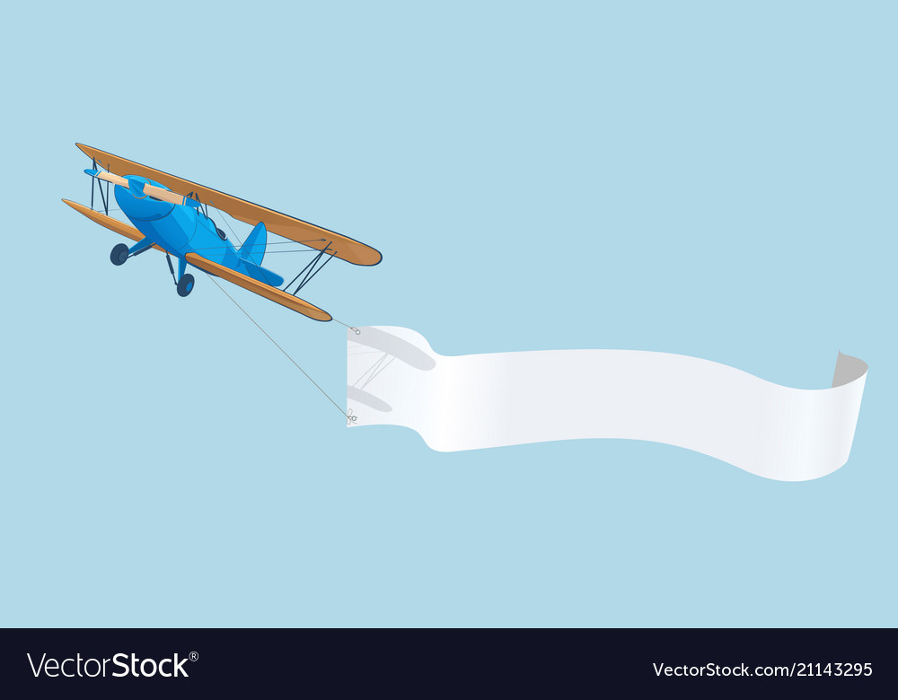 Vintage blue airplane with advertising banner in