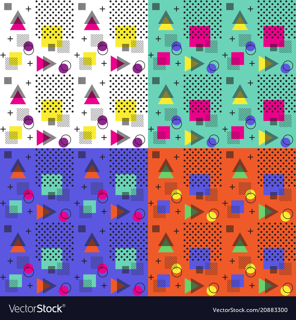 4 colors of seamless memphis pattern