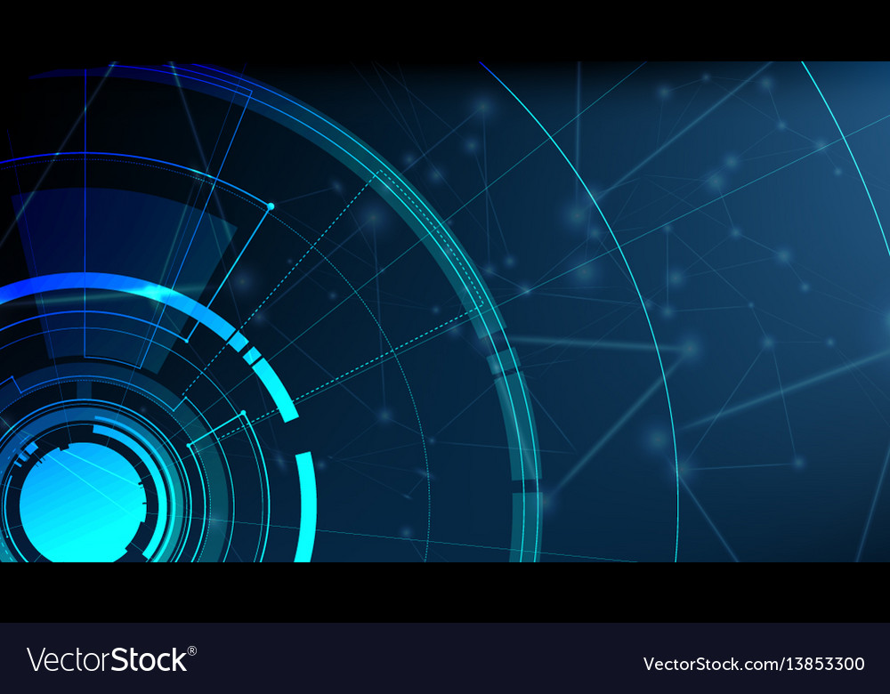Abstract technological radar light template design vector image