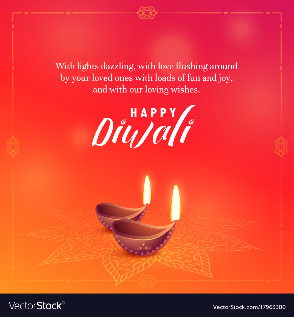 Beautiful Diwali Wishes Background Design Vector Image
