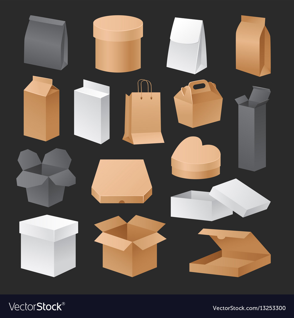 Boxes 3d packages realistic set retail shipping