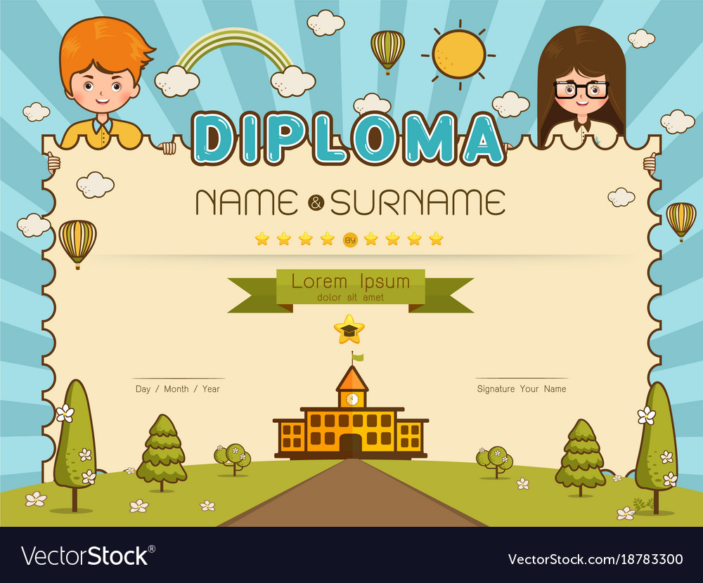 certificate kids diploma royalty free vector image