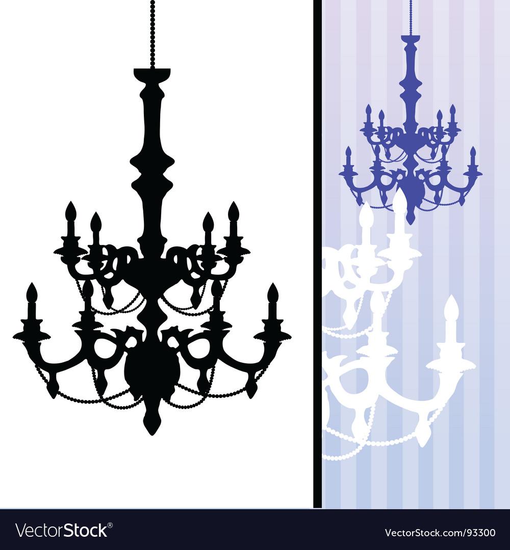 Chandelier on blue striped background vector image