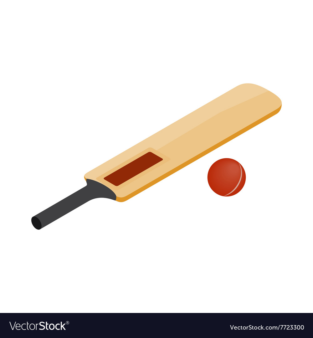 Cricket bat and ball icon isometric 3d style