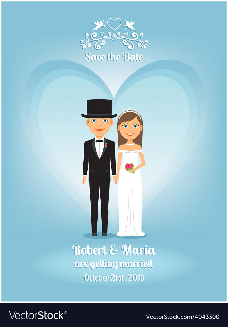 Cute Cartoon Bride And Groom On Wedding Invitation