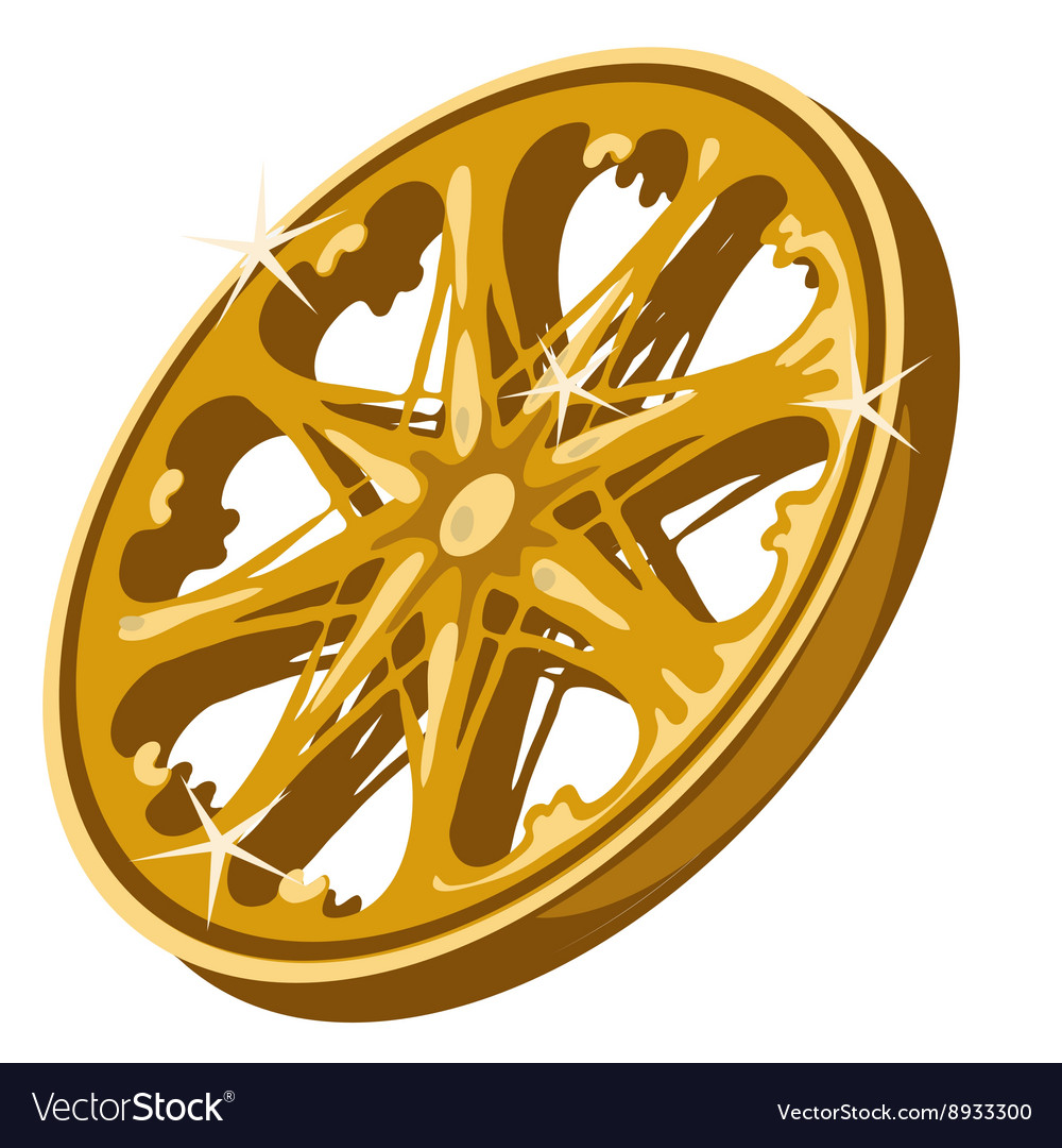 Gold sparkling wheel closeup on white background