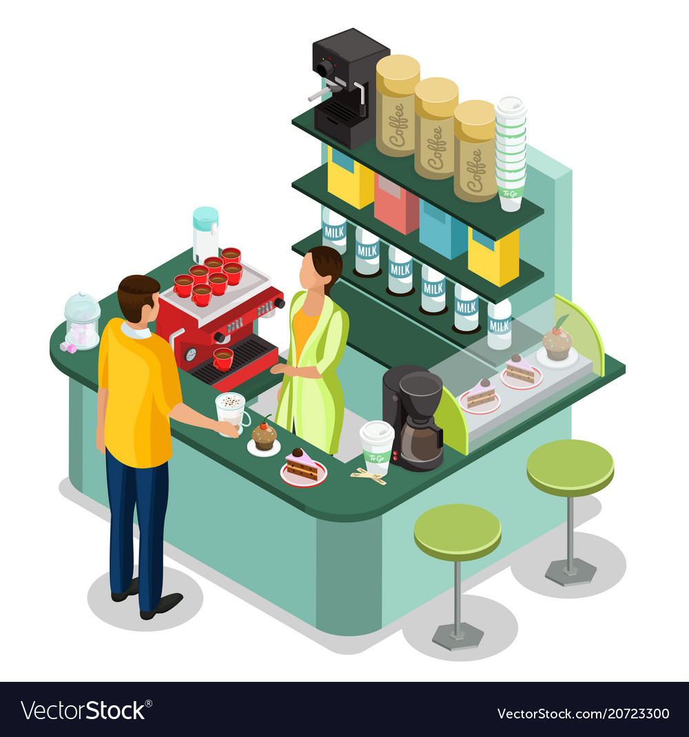 Isometric street coffee stall concept vector image