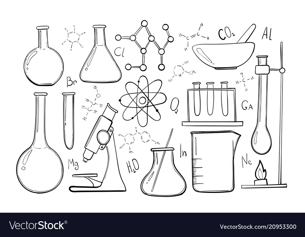 Laboratory equipment sketch set science chemistry