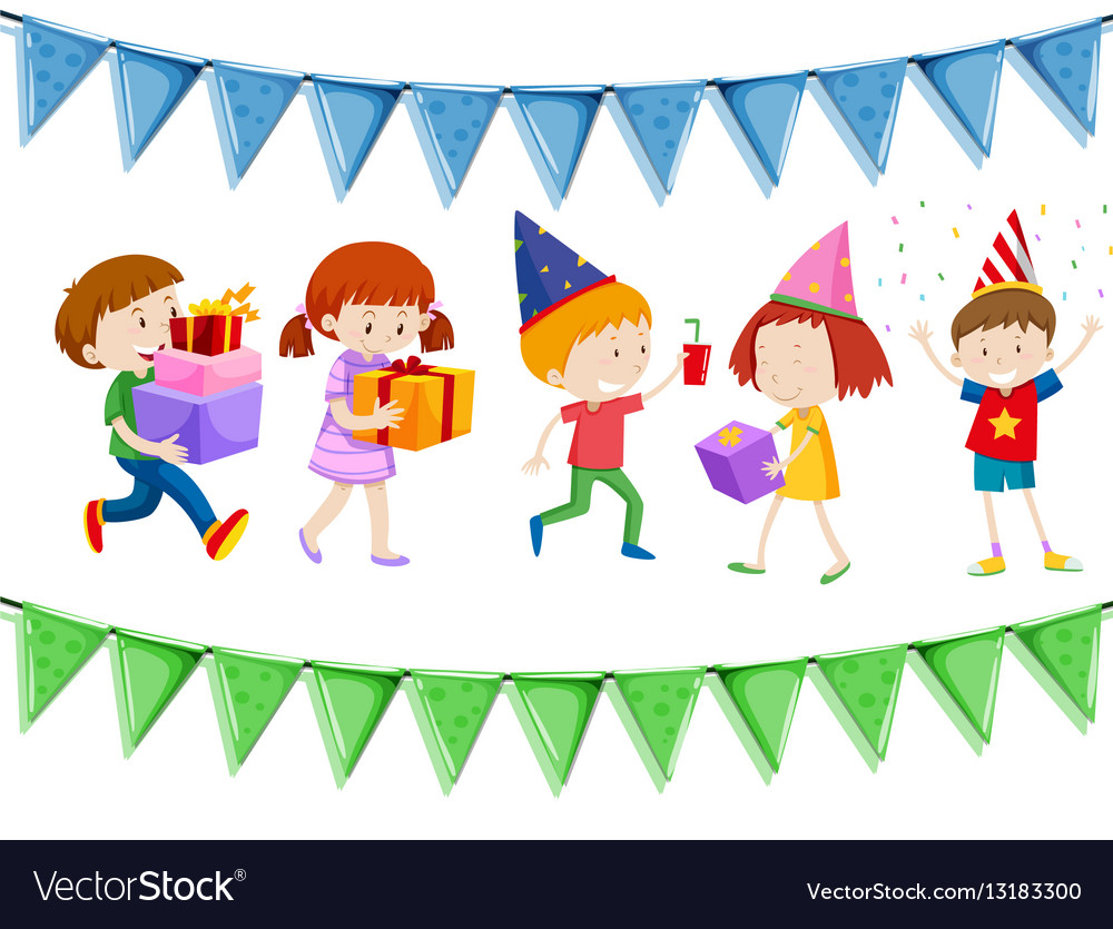 Many children holding presents at party vector image