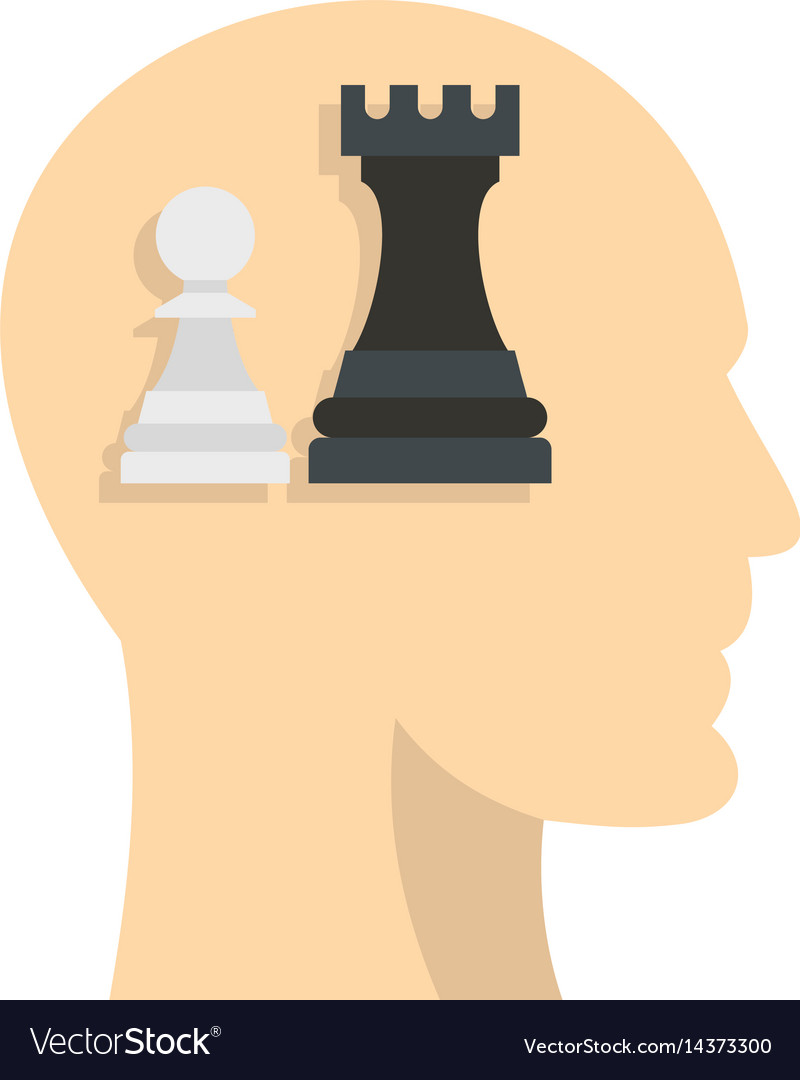 Queen and pawn chess inside human head icon vector image