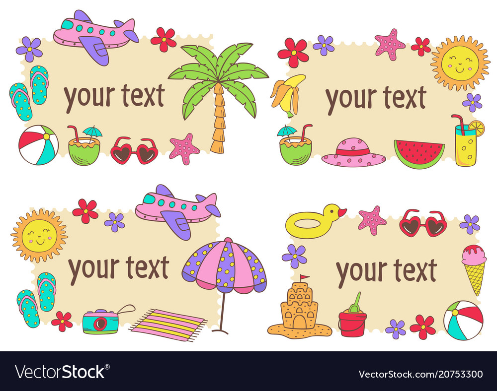 Set of isolated summer frames vector image