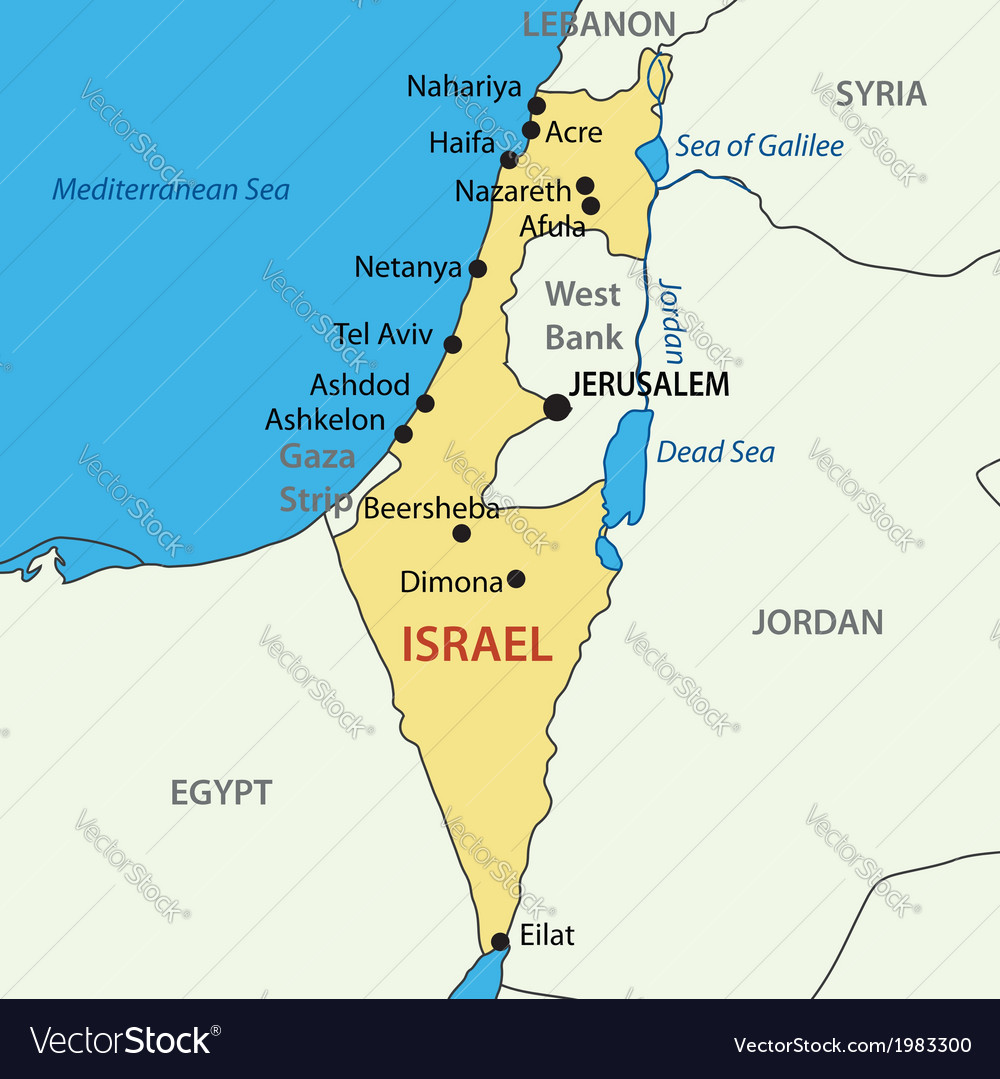 State of Israel - map Royalty Free Vector Image