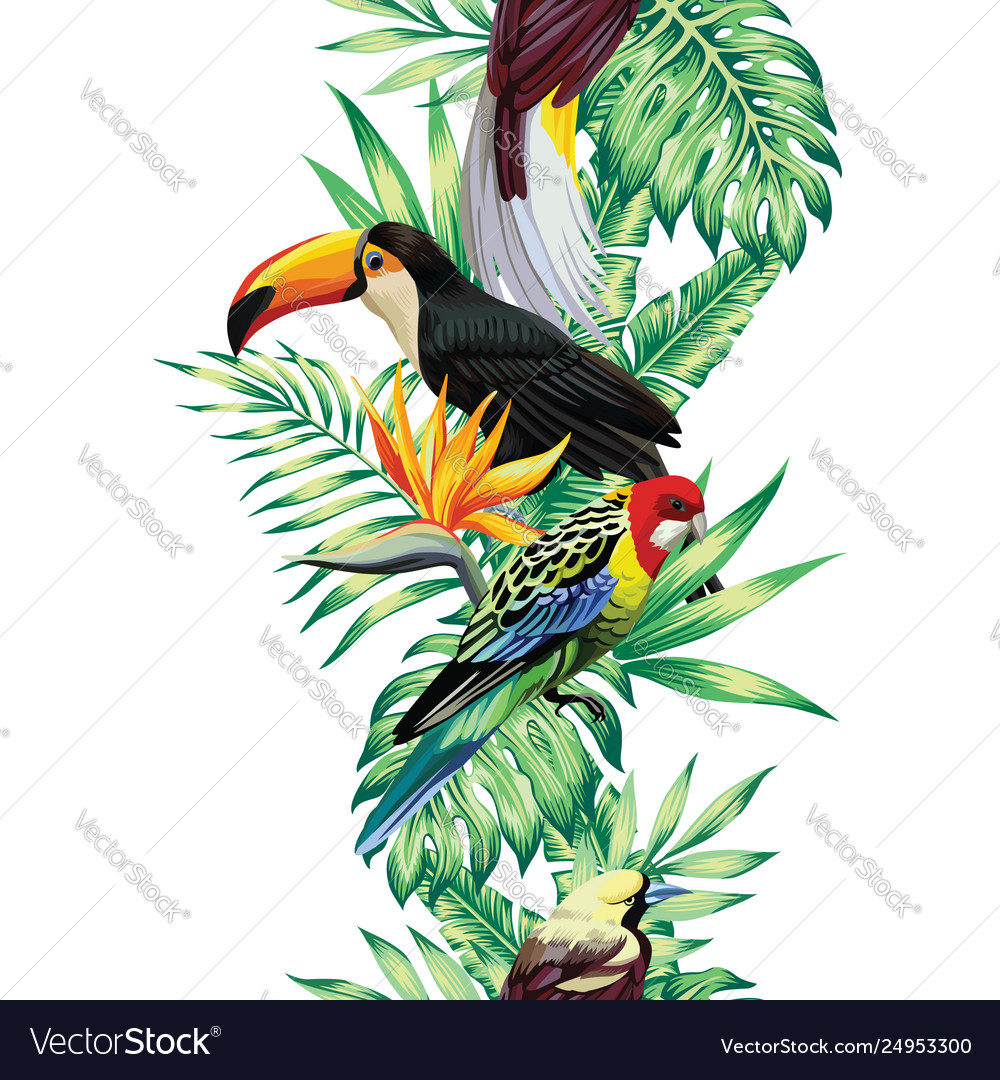Tropical bird leaves and flowers seamless white