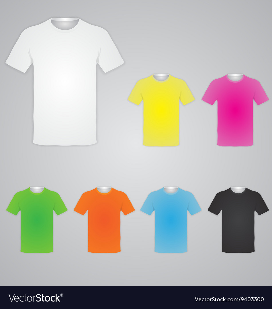 White and color men t shirts vector image