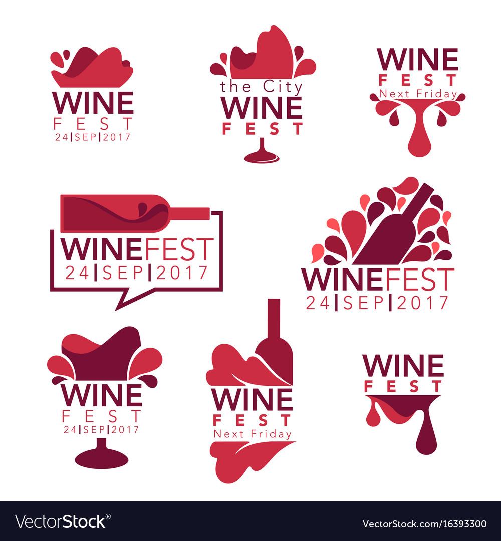 Wine fest red wine bottles and glasses logo