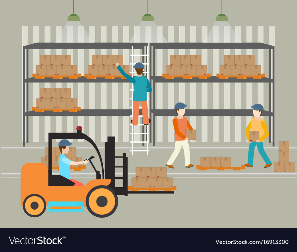 Workers of warehouse load boxes