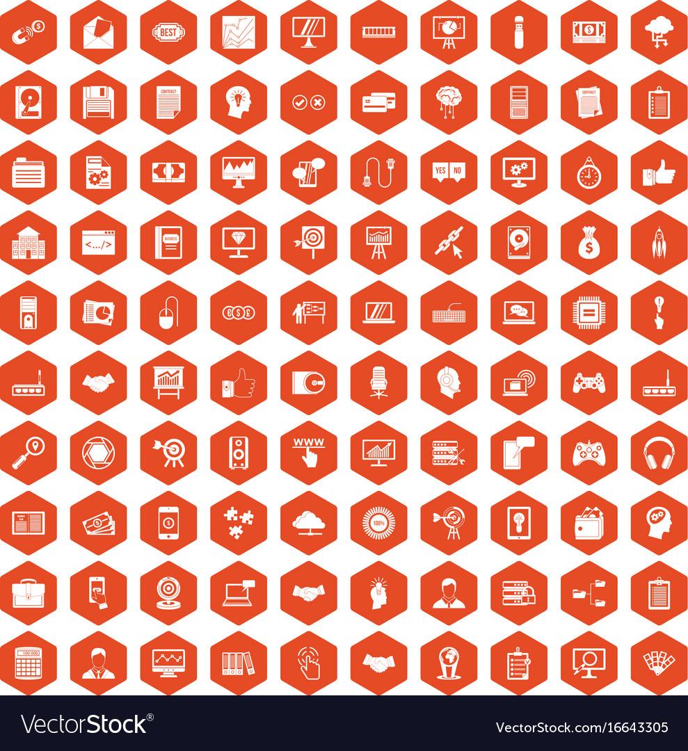 100 web development icons hexagon orange