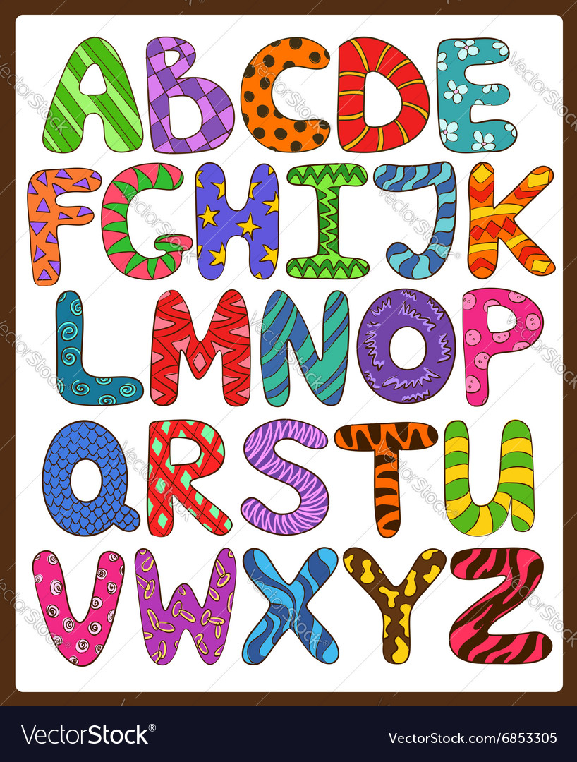 Children Alphabet With Cartoon Capital Letters