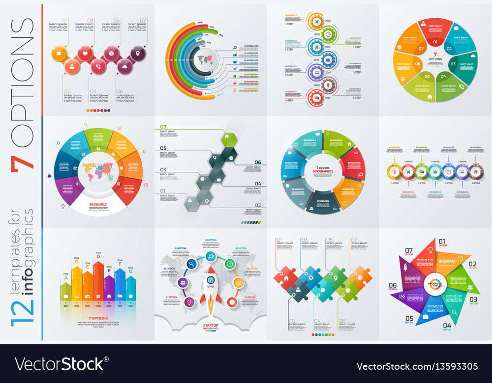 Collection 12 templates for infographics