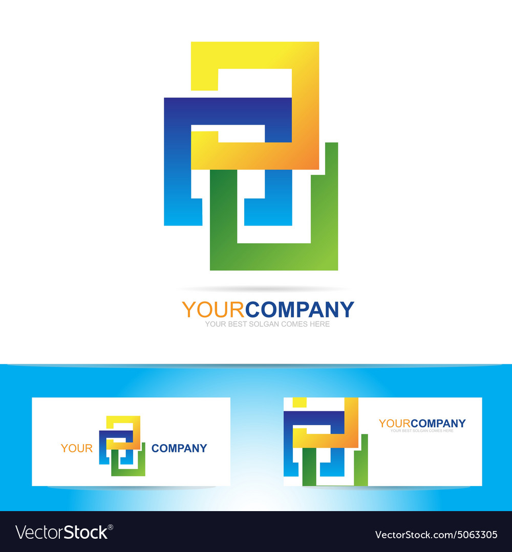 Colored abstract squares logo vector image