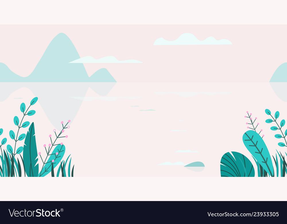 Flat background of spring sunset landscape