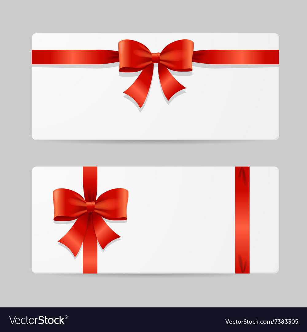 Gift Card Template With Ribbon Royalty Free Vector Image
