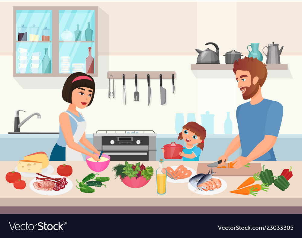 Happy young family cooking father mother and